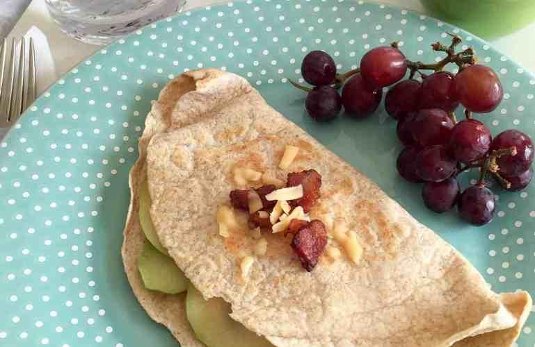 Gouda, bacon, onion, apple quesadillas