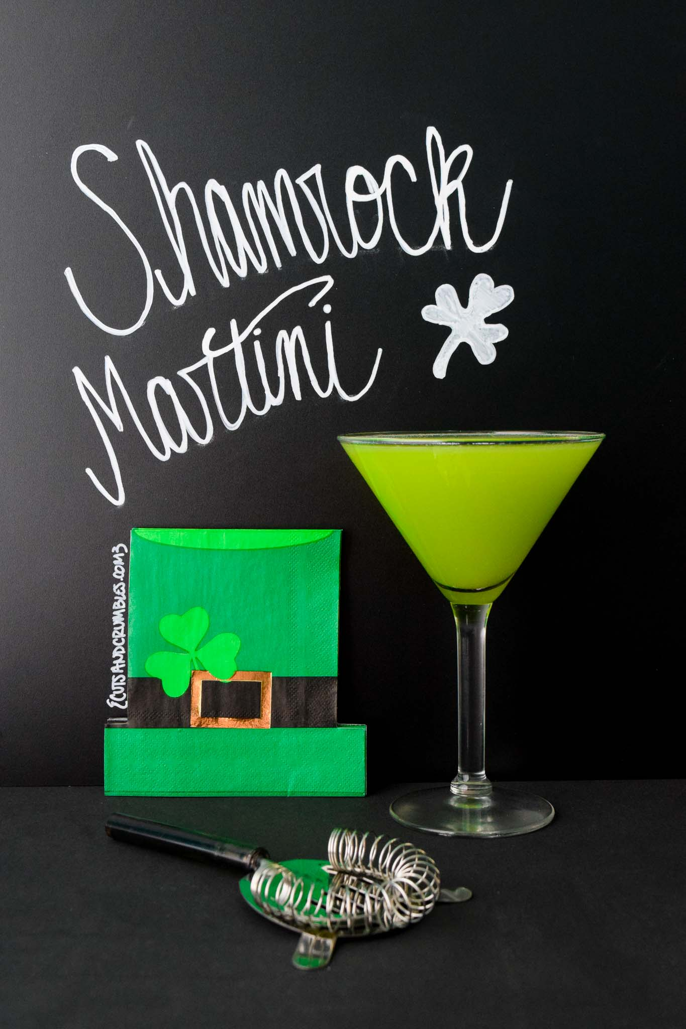 shamrock martini with title written on chalkboard