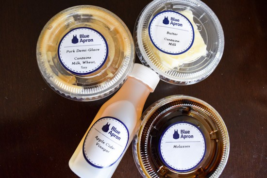 blue apron extras in tiny packages and bottles