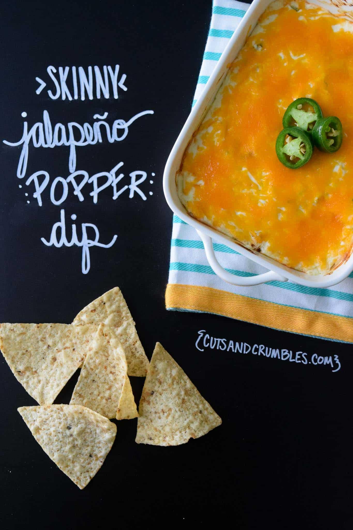 skinny jalapeno pepper dip with title written on chalkboard