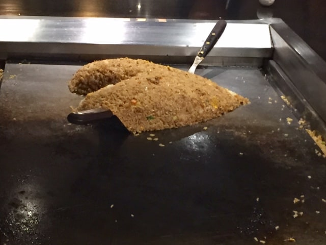 Hibachi grill with rice pile in shape of a heart