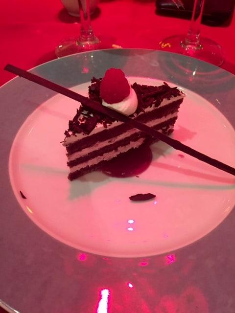 Chocolate layered cake close up view
