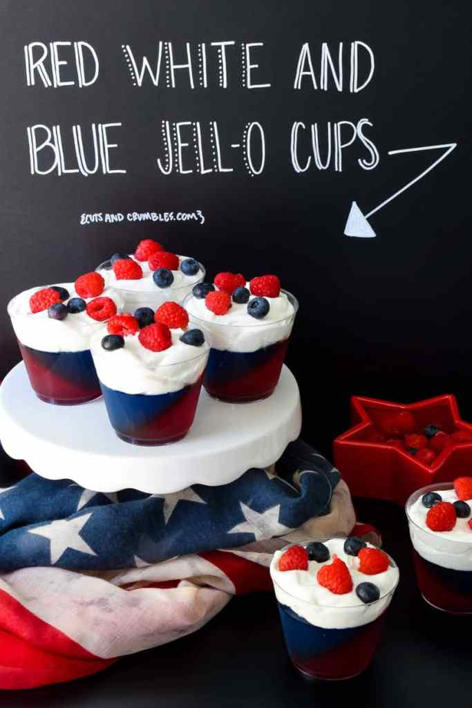 Red white and Blue Jell-O Cups with title written on chalkboard