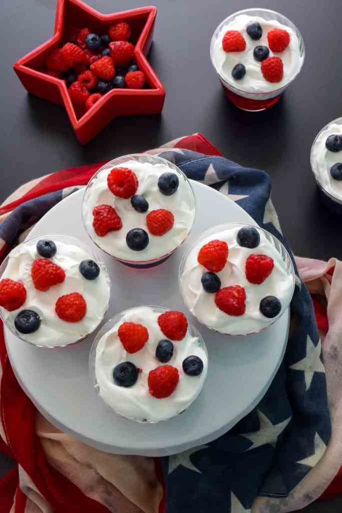 Red white and Blue Jell-O Cups with American scarf overhead shot