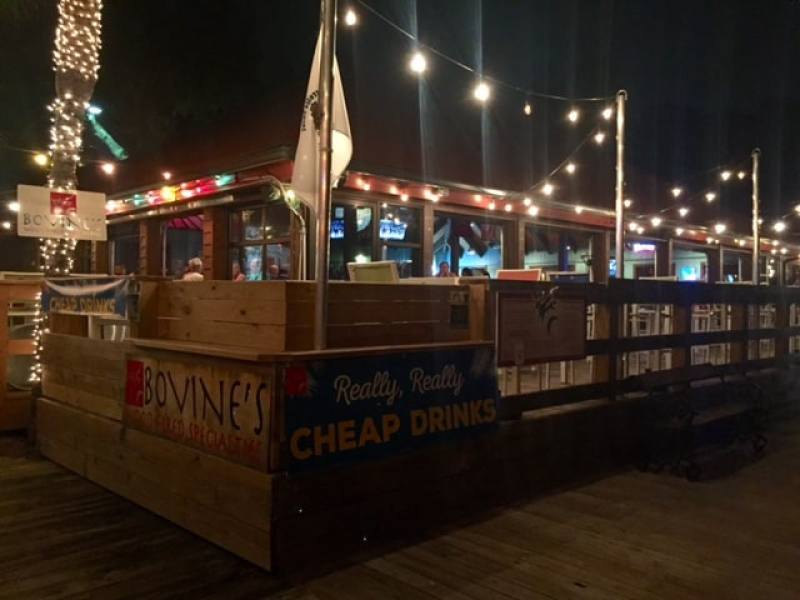 Beach bar with string lights at night