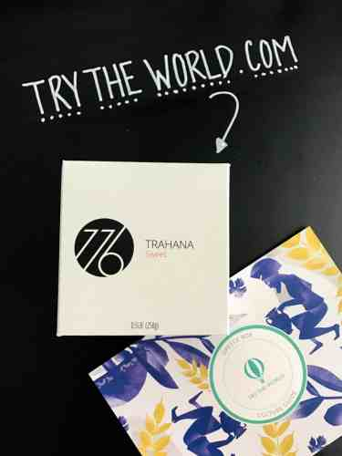 Trahana box with try the world card beside it