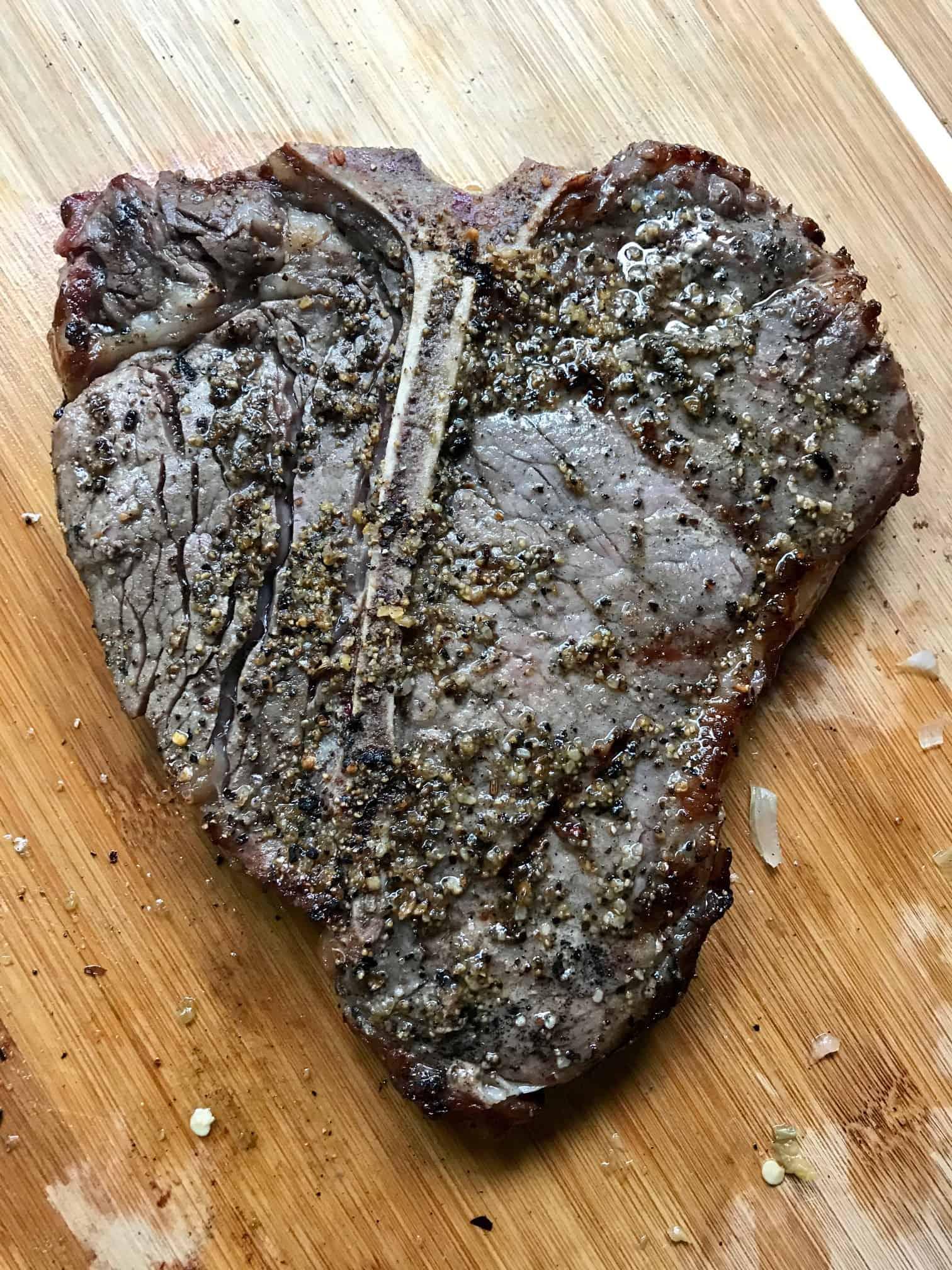 Reverse Sear Steak on cutting board