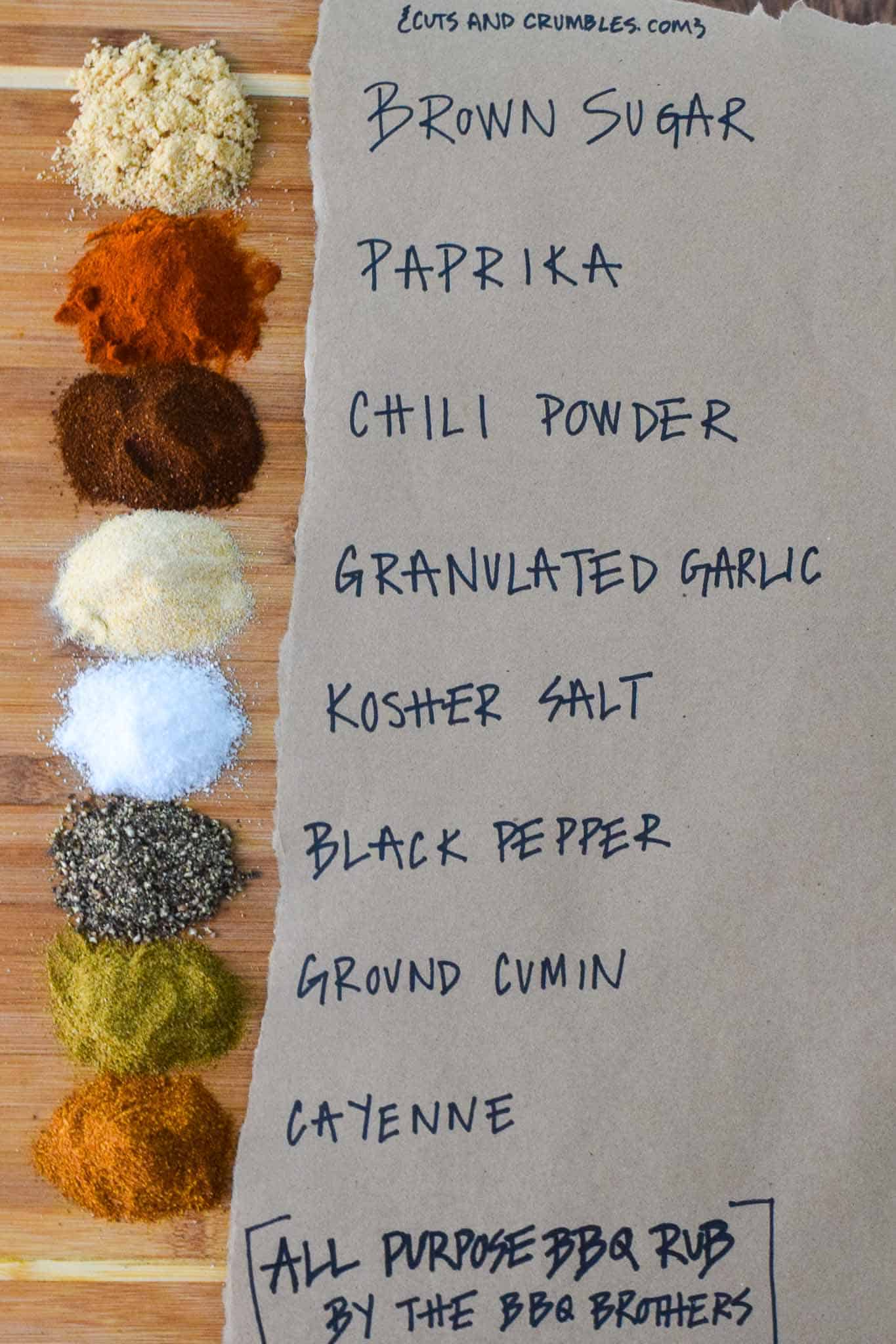 All Purpose BBQ Rub ingredients on wood board with titles written beside them on brown paper overhead shot
