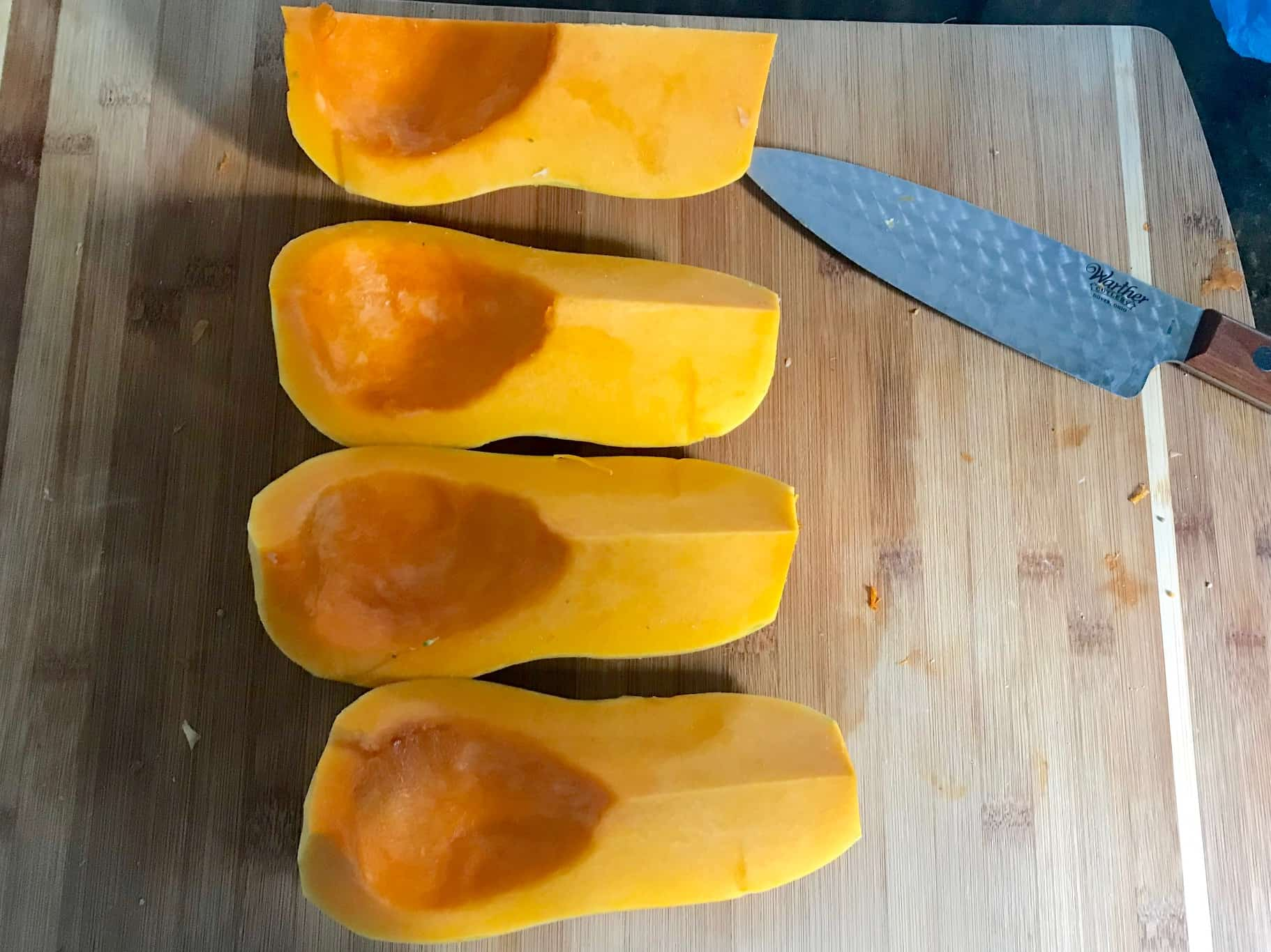 Butternut squash peeled and cut into fourths