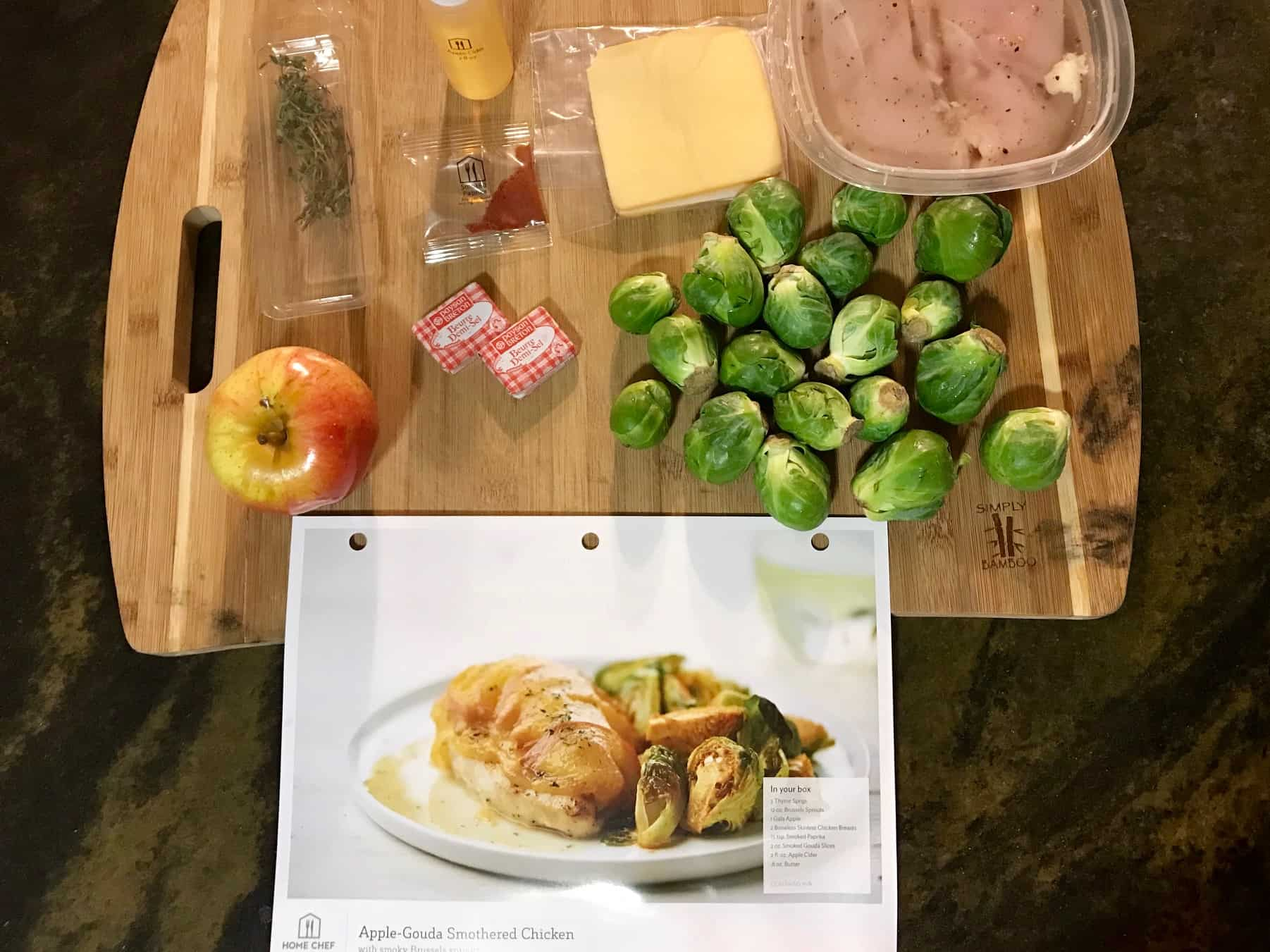Home Chef Gouda Chicken ingredients on cutting board overhead shot