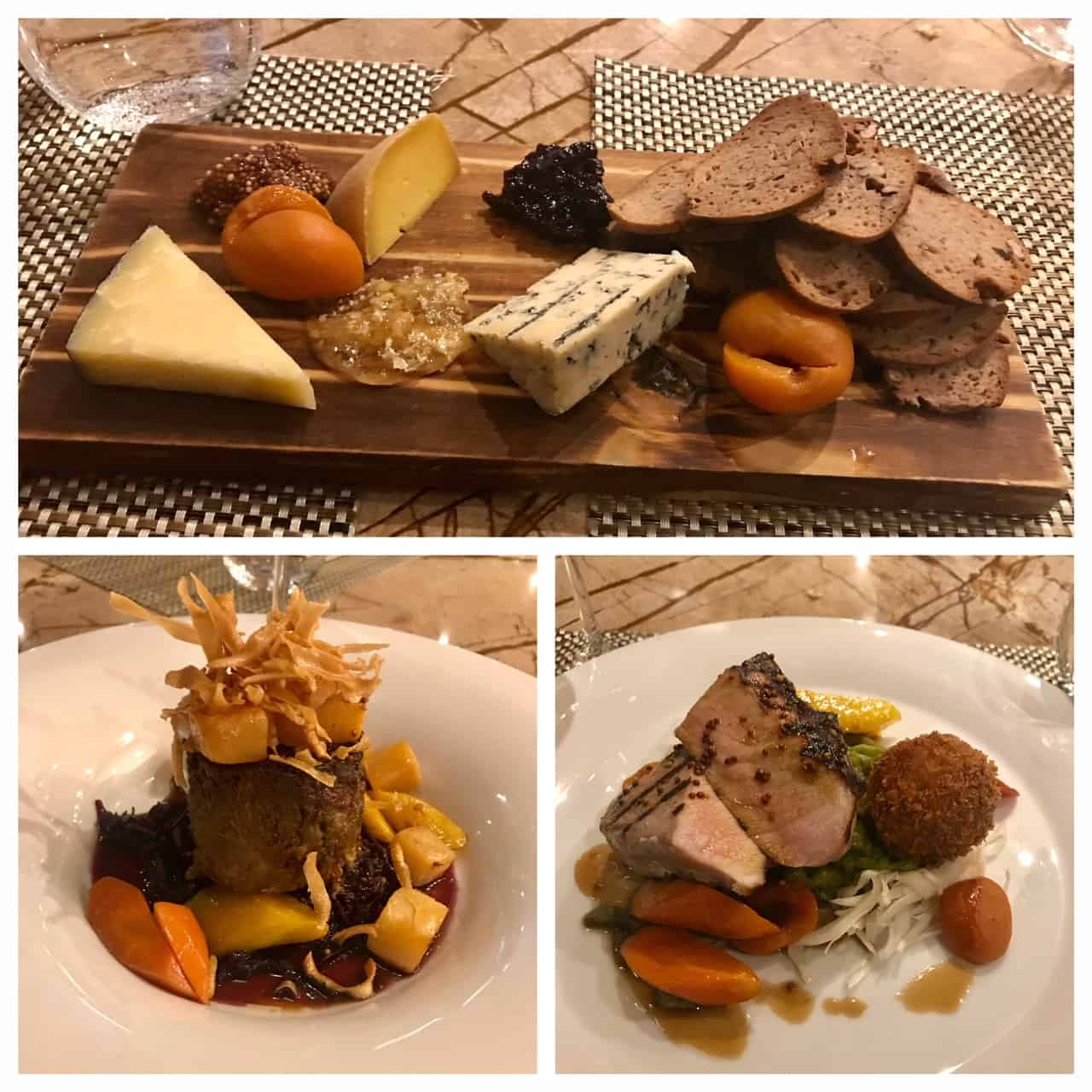 Collage of images of dishes from Treadwell Restaurant