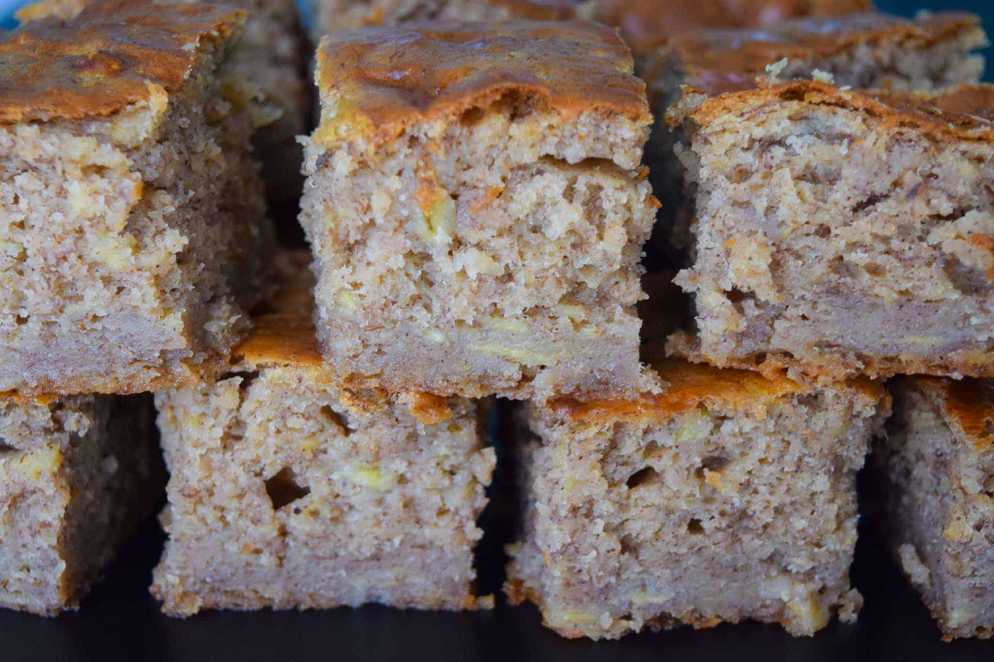 Banana Bread Bars stacked up close up view