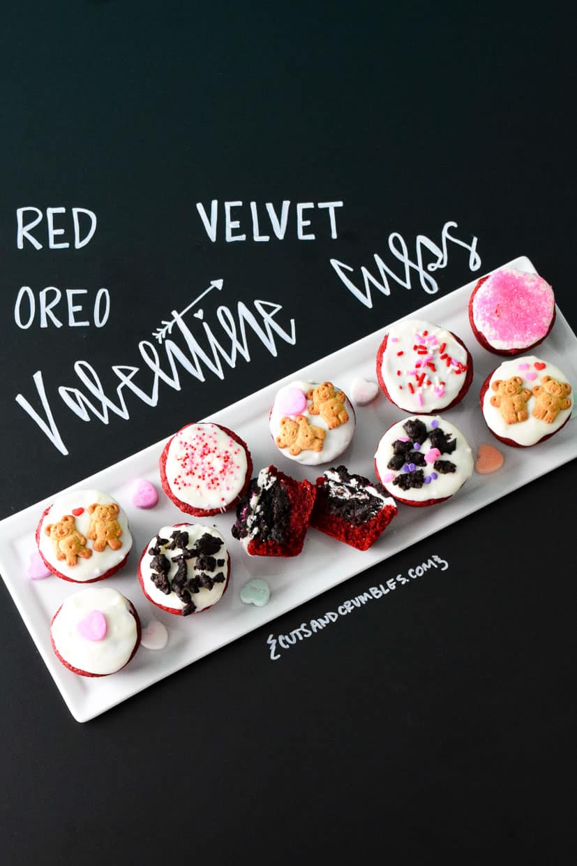 Red Velvet Oreo Valentine Cups on white platter with title written on chalkboard
