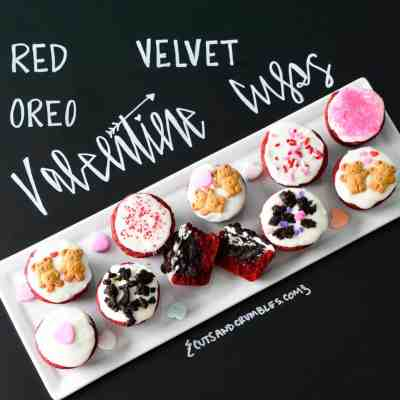 Red Velvet Oreo Valentine Cups on white platter with chalkboard writing