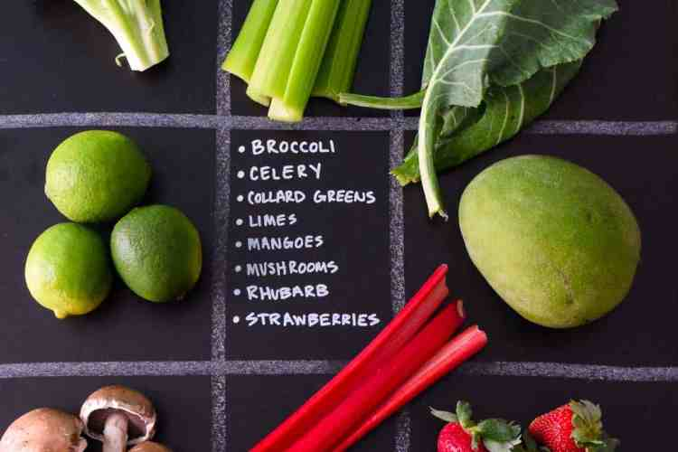 April Seasonal Produce Guide with produce in quadrants on chalkboard