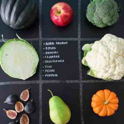 October Seasonal Produce Guide with produce in quadrants on chalkboard