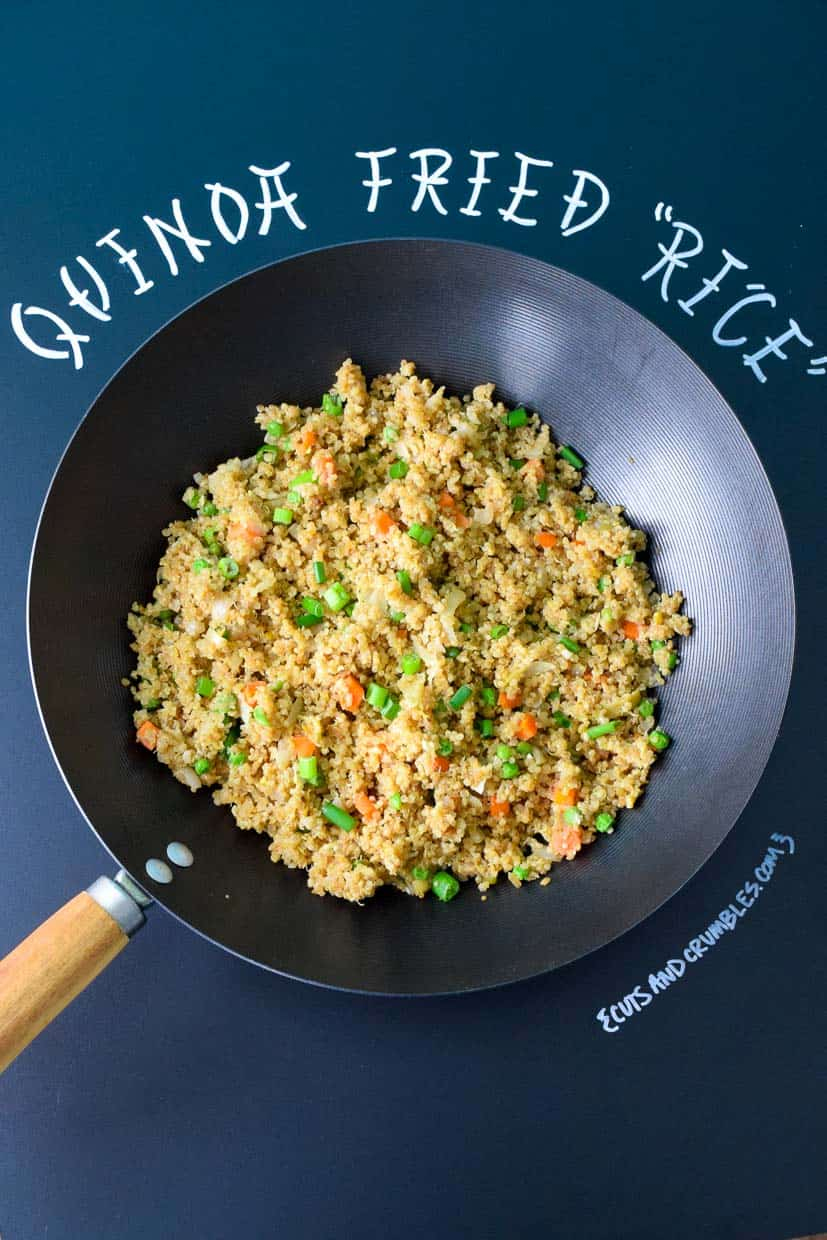 Quinoa Fried Rice in Wok with Chalkboard Title