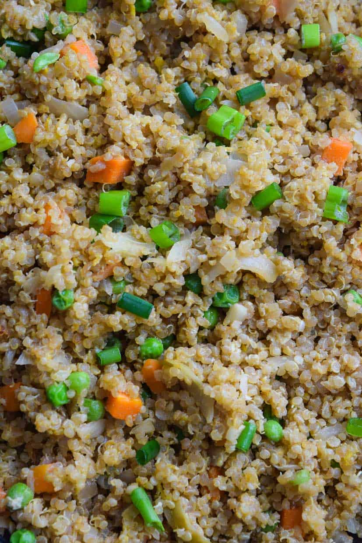 Quinoa Fried Rice overhead close up shot