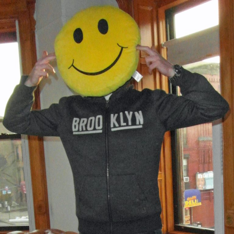 photo of DJ collins303 wiwth smily face acid house cushion