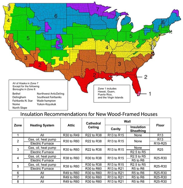 2008 DOE R-value Map 2-min - Cutters Insulation Inc Map Insulation on