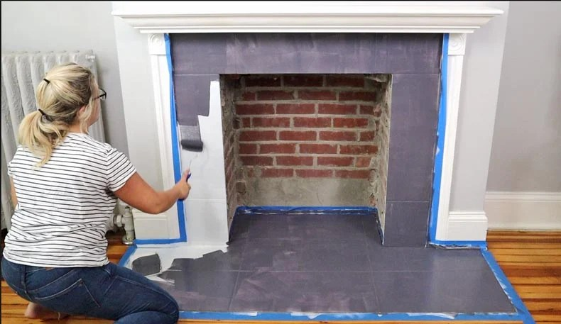cement tile stenciling fireplace diy
