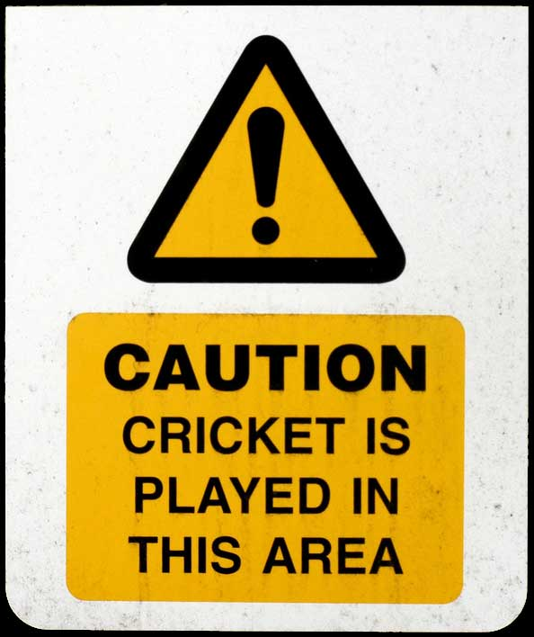 Caution Cricket is Played in This Area