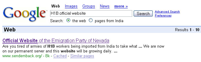 Google search for H1B official website