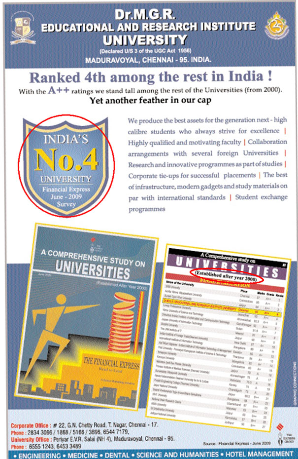 Dr MGR Educational and Research Institute University, Chennai Advertisement