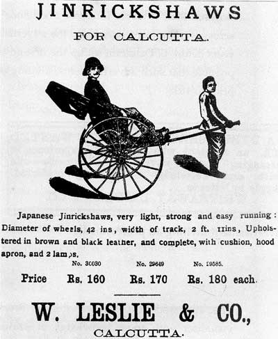Hand-pulled rickshaws Calcutta 1902