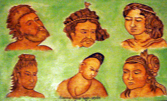 Ajanta male hair styles. 2nd Century BC.