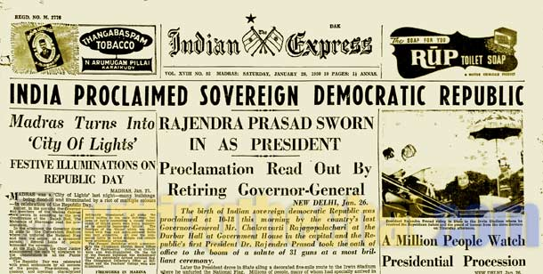 The Indian Express - January 28, 1950 - India becomes a Republic