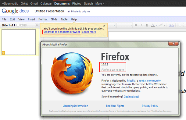 Google says Mozilla Firefox is outdated