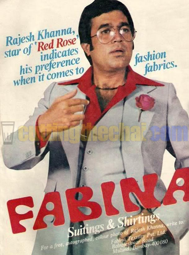 Rajesh Khanna and a red rose in Fabina Sutings & Shirtings advertisement (1980)