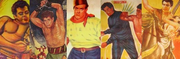 Hand-painted posters of films starring Dara Singh