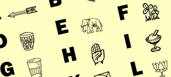 Indian political party symbols alphabet chart