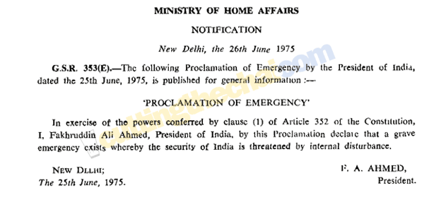 Proclamation of Emergency, as published in The Gazette of India 40 years ago