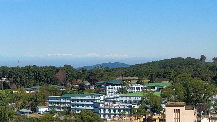 Himalayas, as seen from Hotel Alpine Continental, Police Bazar, Shillong