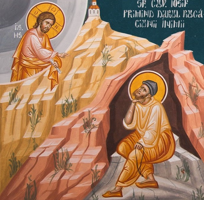Cuv. Iosif primind darul rugaciunii inimii