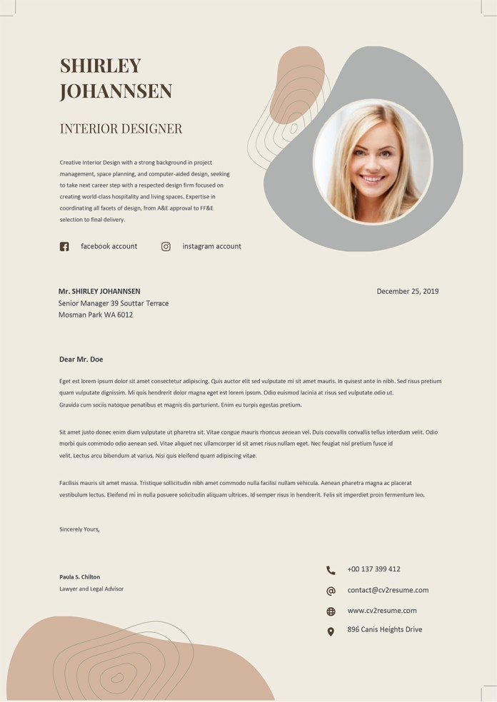 Interior Designer Cover Letter Template Word To Download