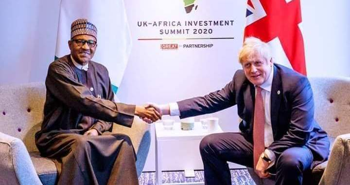 President Buhari in Bilateral Meeting with UK Prime Minister Boris Johnson at the sidelines of the UK-Africa Summit on 20th Jan 2020.