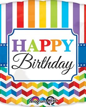 Happy Birthday Bright Stripe Chevron - JUMBO Balloon