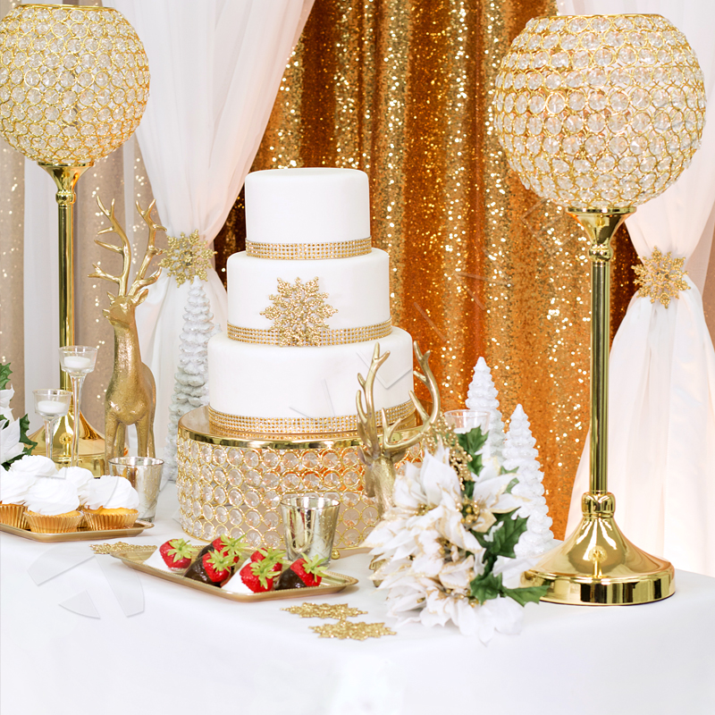 Crystal 14  Round Cake Stand   GOLD Plated   CV Linens       Crystal 14  Round Cake Stand   GOLD Plated