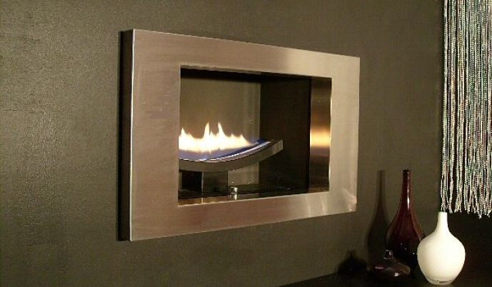 cast slit hole in the wall gas fire silver fascia
