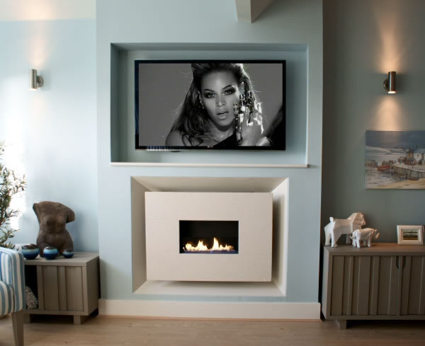 Recessed Flueless Gas Fire - Classico - Standard - Limestone with TV above