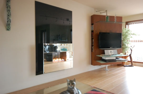 Flueless Gas Fire with Mirror by CVO, UK