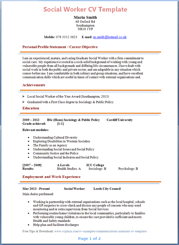 Social Worker Cv Template Tips And