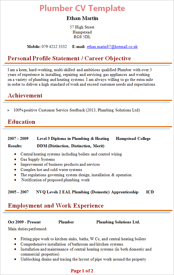 plumbing resume sample