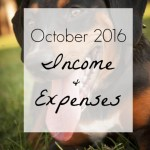 October 2016 Income and Expenses