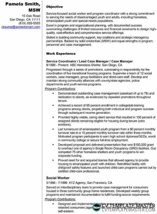 Résumé Example For A Social Worker Or