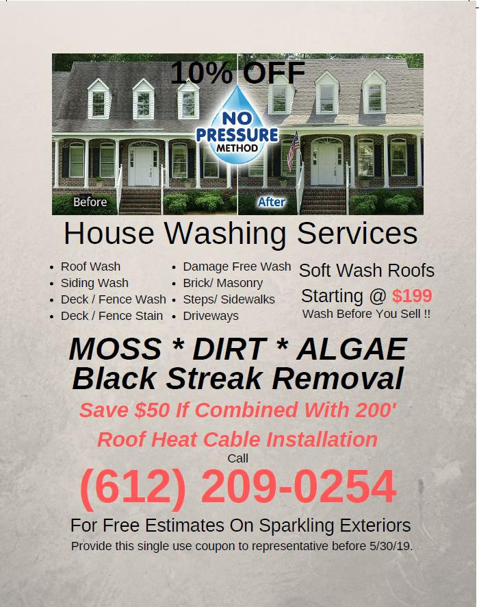 Soft wash roof coupon